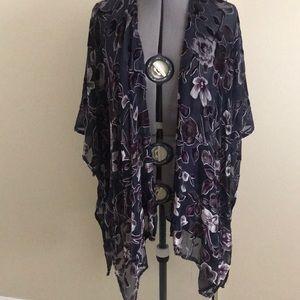Tops - Sheer Floral Kimono